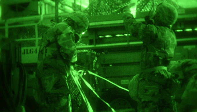 Night vision of CBRN training exercise